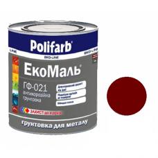 """Грунт для металла """"Polifarb"""" ГФ-021 ЭкоМаль красно-корич.  0,9 кг"""