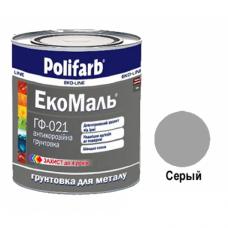 """Грунт для металла """"Polifarb"""" ГФ-021 ЭкоМаль серая 0,9 кг"""