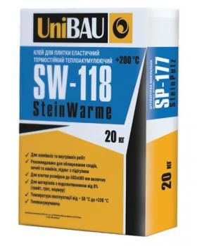 Клей для плитки эластичный термостойкий UNIBAU SW-118, 20кг